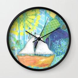 Sailboat Painting, Child's Room Decor, Sailing Art, Lake Art, Blue, Green, Yellow, Orange, Nautical Wall Clock