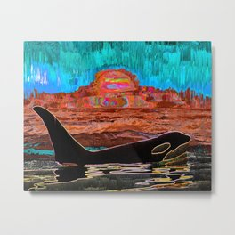 Orca Sunset Metal Print