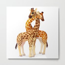 Couple giraffe. Vector graphic character Metal Print