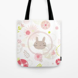Floral Bunny Face Tote Bag