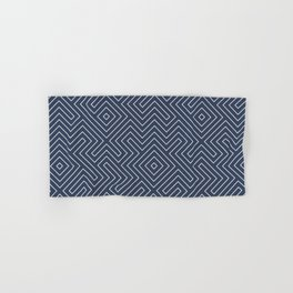 Tribal Maze Navy and White Hand & Bath Towel