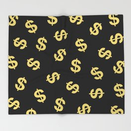 Dollar Signs Black & Gold Throw Blanket