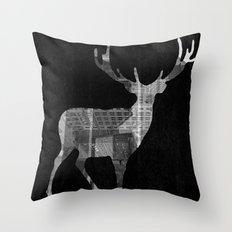 Deer City Collage 2 Throw Pillow