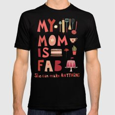 My Mom is Fab MEDIUM Mens Fitted Tee Black