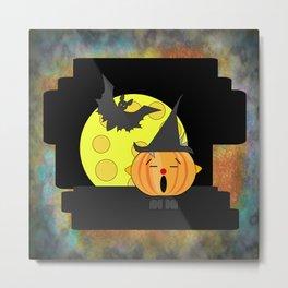 Funny singing pumpkin head with bat and moon Metal Print