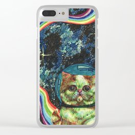 Rainbow Farting Adventure Cat Clear iPhone Case