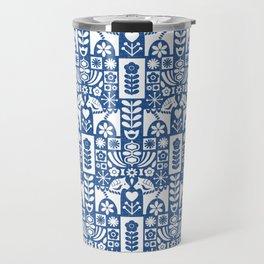Swedish Folk Art - Blue Travel Mug