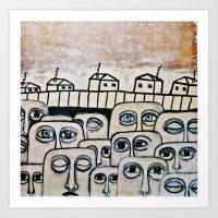 the neighbourhood Art Prints featuring Crowded neighbourhood by Ahoyhoy