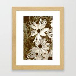 White Florals Framed Art Print