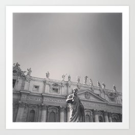 St. Peter's Basilica, Vatican City, Rome, architecture photography, black & white, Baroque Art Print