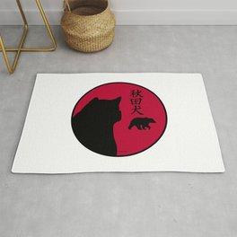 Akita inu, kanji and bear in rising sun Rug