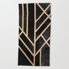 Art Deco Black Beach Towel