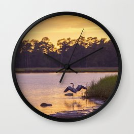 Heron on the River at Sunset Wall Clock
