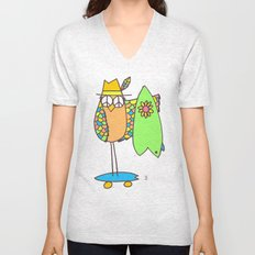 Keep Shredding Surf Skate Peace Owl Unisex V-Neck