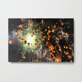 Flying Lantern Festival Metal Print
