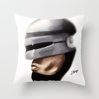 robocop Throw Pillows featuring Robocop. by Jamie Briggs