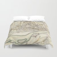 poland Duvet Covers featuring Vintage Map of Warsaw Poland (1831) by BravuraMedia