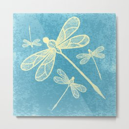 Abstract dragonflies in yellow on textured blue Metal Print
