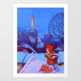 Christmas over Trondheim Art Print