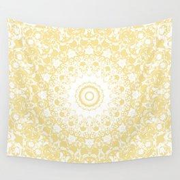 White Lace Mandala on Sunshine Yellow Background Wall Tapestry