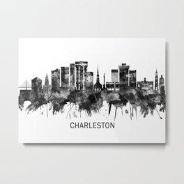 Charleston South Carolina Skyline BW Metal Print