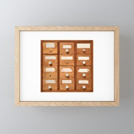Backgrounds and textures: very old wooden cabinet with drawers Framed Mini Art Print