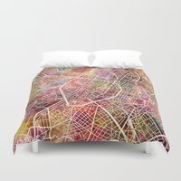 brussels Duvet Covers featuring Brussels by MapMapMaps.Watercolors