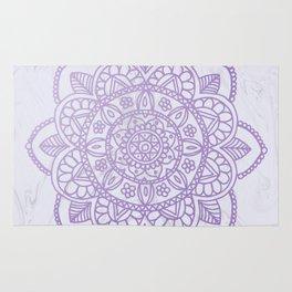 Lavender Mandala on White Marble Rug