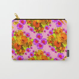 Pink Coral Cerise Roses & Daffodils Floral Carry-All Pouch