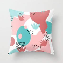 Teal and Pink Geometry Throw Pillow