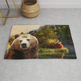 Brown Bear and Forest Rug