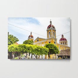 View of Granada Cathedral at the Center of Parque Central De Granada in Nicaragua Metal Print