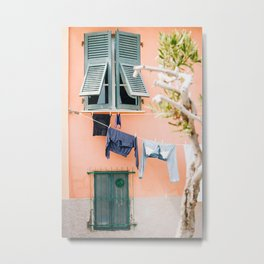 Photo of laundry in Portovenere, Cinque Terre Italy | Fine Art Colorful Travel Photography | Metal Print