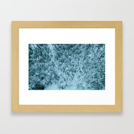 Aerial view of winter snow covered forest landscape. Drone photography collection. Framed Art Print