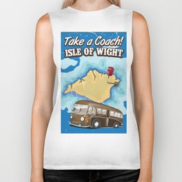 Isle Of Wight vintage retro travel poster Biker Tank