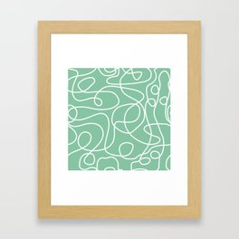 Doodle Line Art | White Lines on Bright Green Framed Art Print