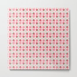 Pink Strawberry Slice Pattern Metal Print
