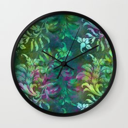 Jungle Floral Design in Jeweled Blues and Purple Wall Clock