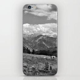 panorama cloudy alps serfaus fiss ladis tyrol austria europe black white iPhone Skin