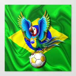 Brazil Macaw Parrot with Soccer Ball Canvas Print