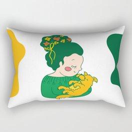 Flower hair girl Rectangular Pillow