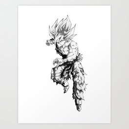 Battle Ravaged Goku Art Print