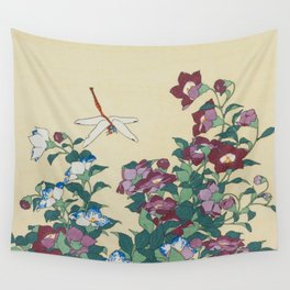 Hokusai (1760-1849) Bell-flowers and Dragonfly Wall Tapestry