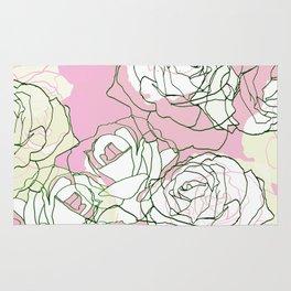 Line art minimal pastel rose petals Rug