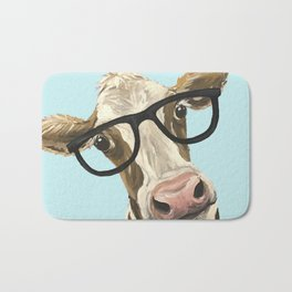 Cute Glasses Cow Up Close Cow With Glasses Bath Mat