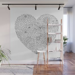 Flowers Heart Coloring Page, Flourish and Bloom Wall Mural