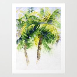 Watercolor painting with tropical palm trees, painted in India   Art Print