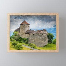 Vaduz Castle Digital Oil Painting Framed Mini Art Print