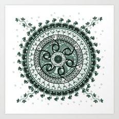 Classical Circle Turquoise Mandala Art Print