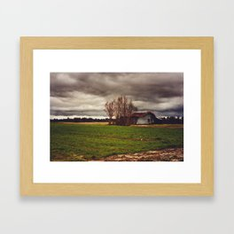 Stormy Barn Framed Art Print
